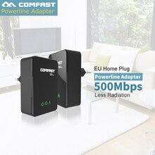 2 шт./лот comfast cf-wp500m локальной сети powerline комплект, мощность линии ethernet адаптер extender 500 мбит мини plc ес home plug сети powerline
