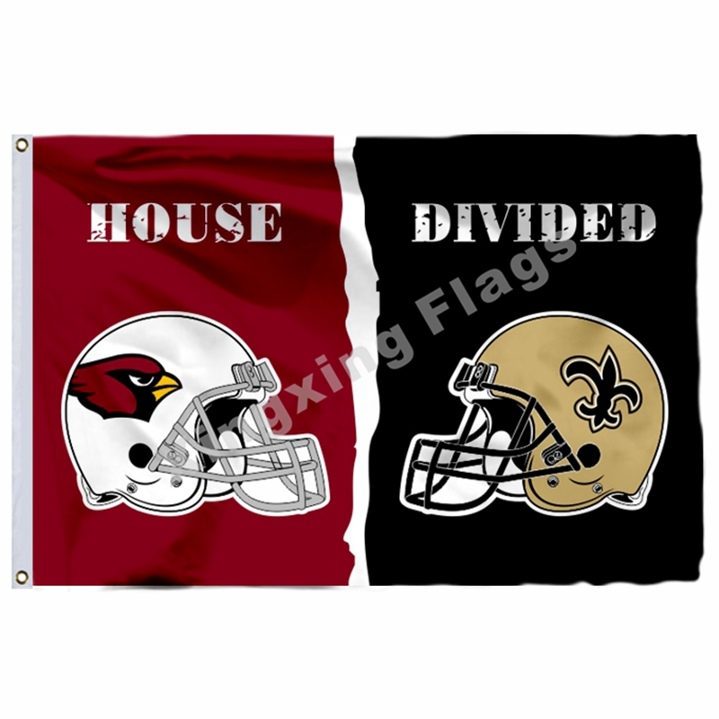 Arizona Cardinals New Orleans Saints Helmets House Divided Flag 3ft X 5ft Polyester NFL1 Banner Size No.4 144*96cm Custom