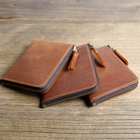 Leeshang New Hand Made Genuine Leather Small Wallet Unisex Mini Zipper Retro Crazy Horse Cash Wallet
