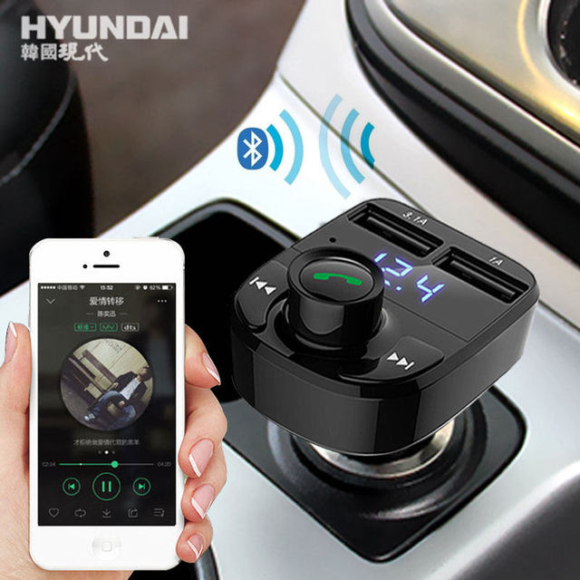 HYUNDAI Dual USB 3.1A+1A Car Charger Car MP3 Audio Player Car Bluetooth Car Kit FM Transmitter Bluetooth Handsfree Phone Charger