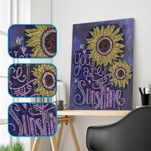 Diamond Embroidery Flower Painting Special Shape Sunflower 5D Mosaic Partial Rhinestone Picture 25x30cm