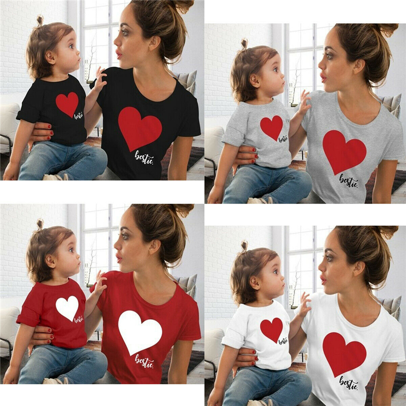HTB12n2QL5LaK1RjSZFxq6ymPFXaz Summer Mommy And Me Clothes Heart Print T Shirt Family Costumes Baby And Mom Matching Clothes Mommy Daughter Matching Outfits