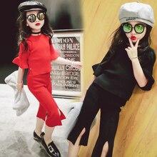Suit for girls autumn 2016 new Korean children split five sleeve jacket + pants seven children two piece set free shipping