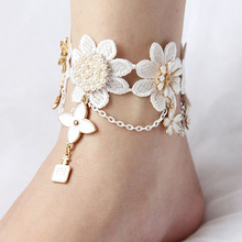Мода Кружева Цветок Лодыжке Браслет Цепь Ноги Пляж Сандалии Босиком Ножной Браслет