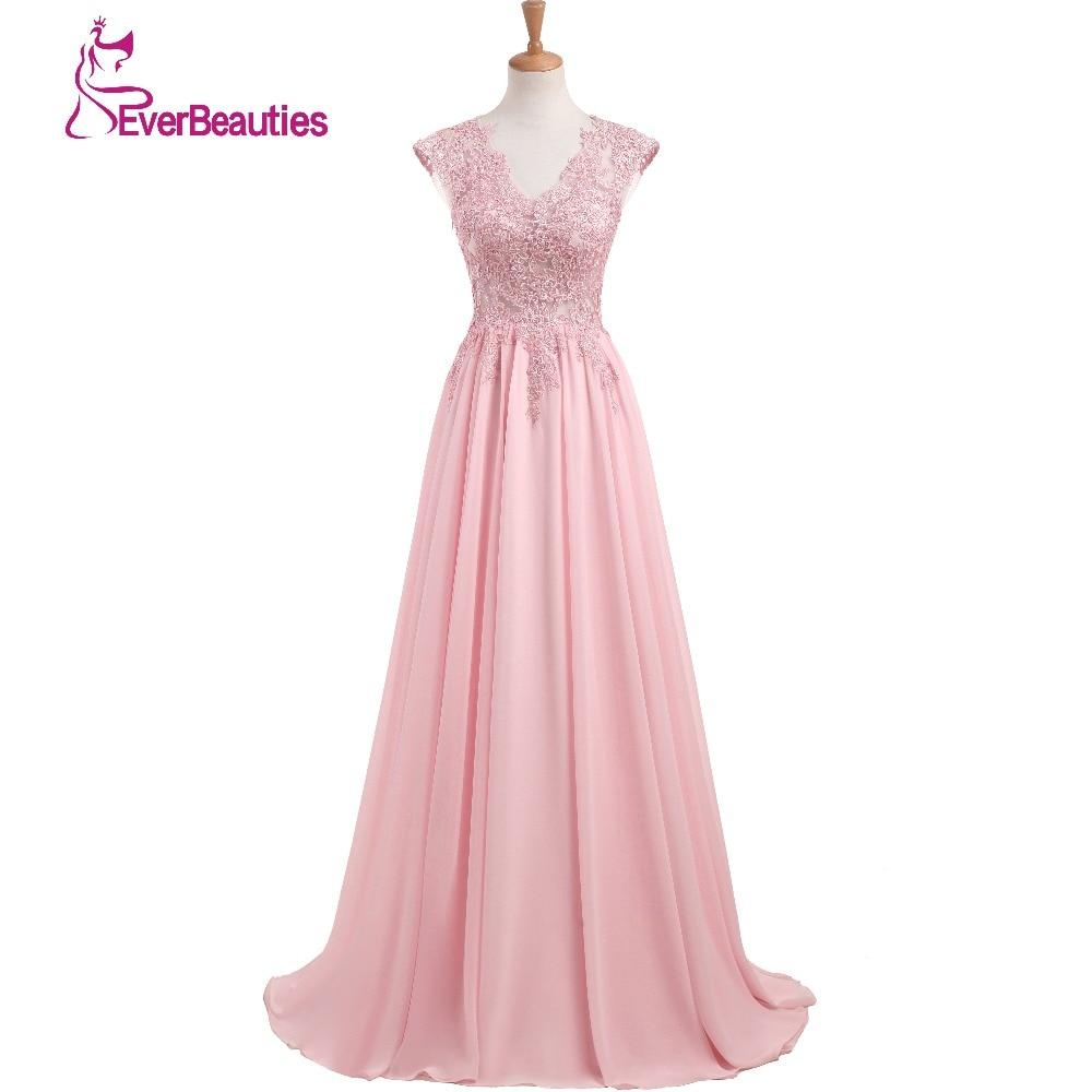 Eleganta Aftonklänningar Långa 2019 Ny Charming V-Hals Golvlängd Chiffon med Top Lace Prom Party Klänning Abiye Robe De Soiree