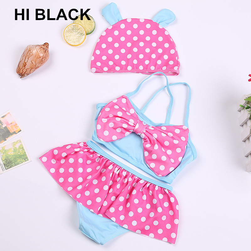 2018 New Summer Two Pieces Biquini Infantil Hot Sale Baby Swimwear Lovely Baby Kids Girls Bikini Swimsuit with Cap