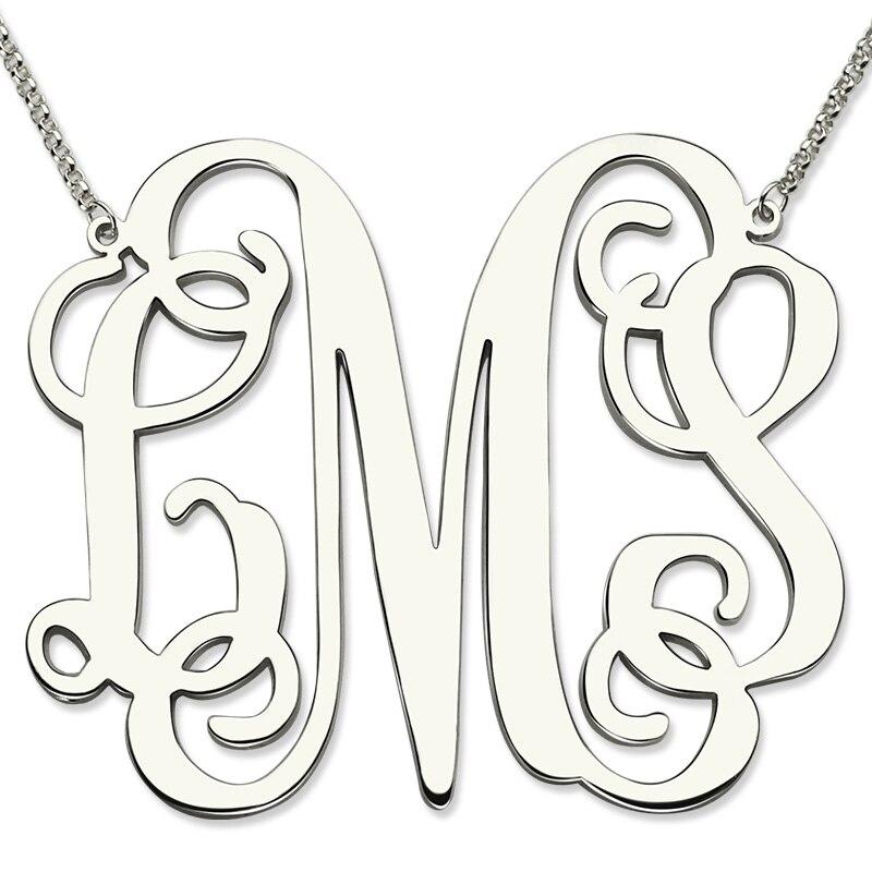 Gros Sterling Argent Grande Taille Monogramme Collier XXL 2 pouce Pendentif Monogramme Personnalisé Initiale Mère Bijoux