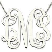 Monogram Naszyjnik hurtowych Srebro Duży Rozmiar XXL 2 Cal Wisiorek Początkowe Monogram Spersonalizowanych Matka Biżuteria