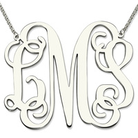 Wholesale Sterling Silver Large Size Monogram Necklace XXL 2 Inch Pendant Monogram Personalized Initial Mother Jewelry