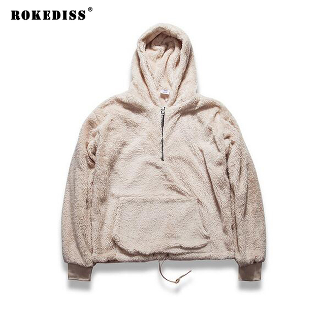 men's half zipper pullover fleece sherpa hoodie streetwear cool kanye west fashion hip hop urban clothing justin biebers TC250