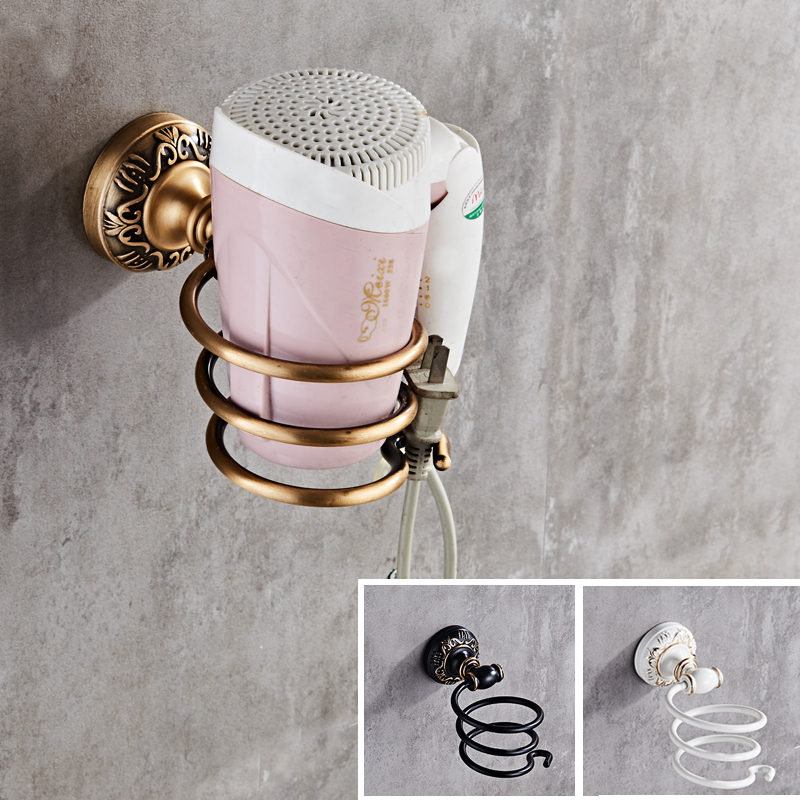 New Durable Spiral Wall Mounted Antique/White/Black Hair Dryer Shelf Bathroom Metal Hair Dryer Holder Bathroom Accessory