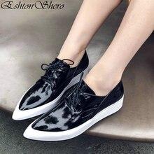 EshtonShero Women s Shoes Woman Pumps Patent Leather Wedge Low Heels Lace  Up Pointed Toe Platform Ladies 2ac3d006e9c6