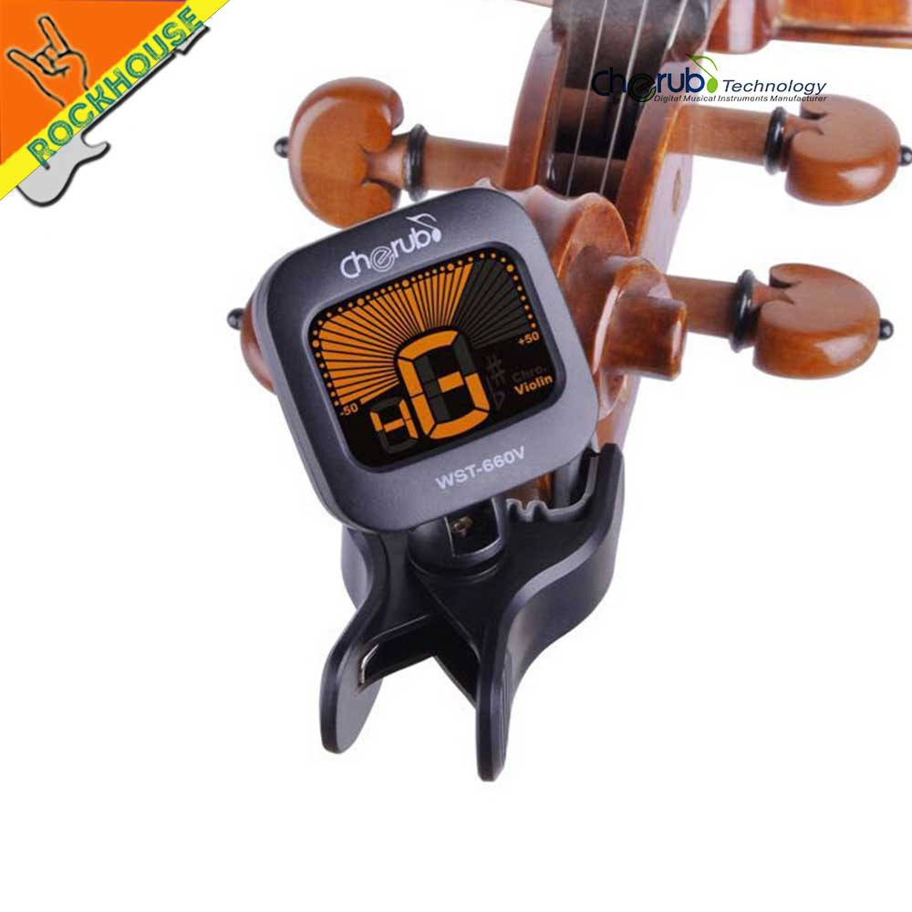 Cherub Violin Tuner Clip On Viola Tuner Chromatic and Violin Tuning Model Backlight LCD display 360 Degree Rotation Sensitive