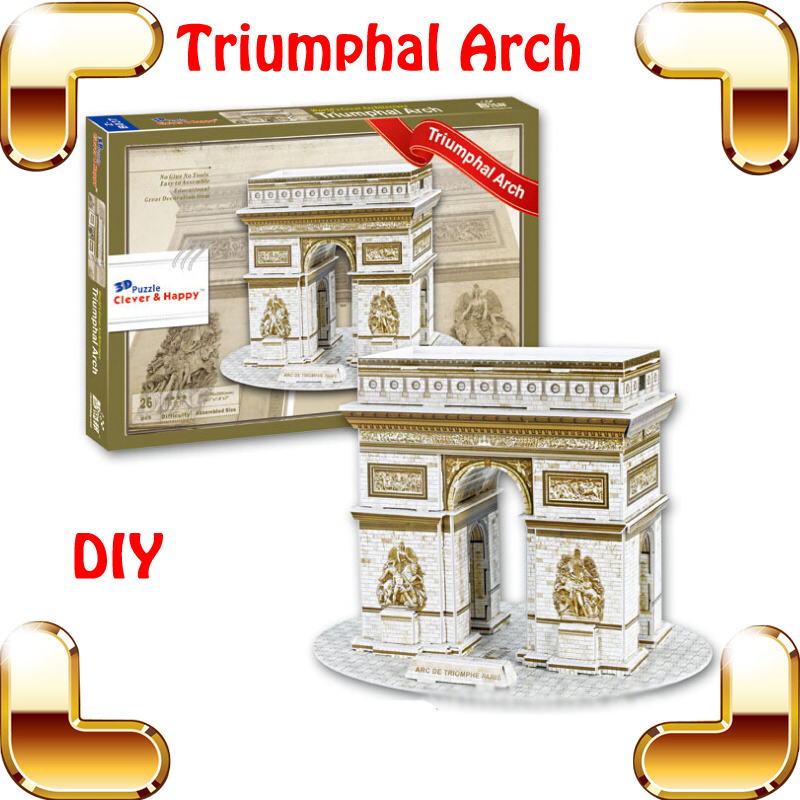 Christmas Gift Z-B037 French Triumphal Arch 3D Puzzle France Arch Puzzle Door Building Model Home Decoration Easy DIY Install