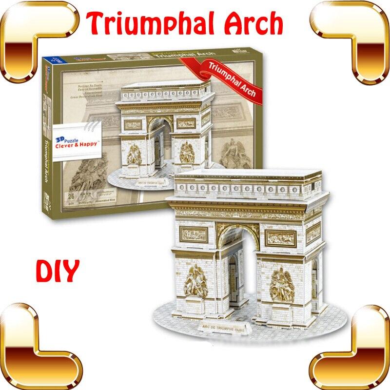 Nouvel an cadeau arc de triomphe français 3D Puzzle France arc Puzzle porte bâtiment modèle décoration de la maison facile bricolage installer des jouets