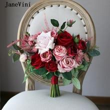 Broche De novia rosa De seda Artificial ramo De Mariage ramo De flores De boda