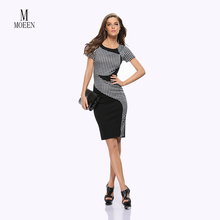 Moda 2016 Yeni Varış Baskı Çiçekli Katı Patchwork Düğme Casual Emek harcama Kolsuz Bodycon Bahar Yaz Ofis Elbise