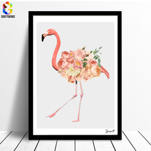 ZeroC Flower Flamingo Canvas Art Print Poster, Wall Paintings for Living Room Decoration Art Picture Home Decor zeroc japanese ink canvas art print poster zen wall paintings for living room decoration home decor