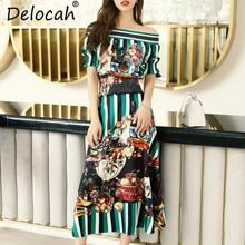 Delocah Women Summer Vintage Suits Runway Fashion Designer Slash Neck Lantern Sleeve Tops And Striped Print Skirt Two Pieces Set