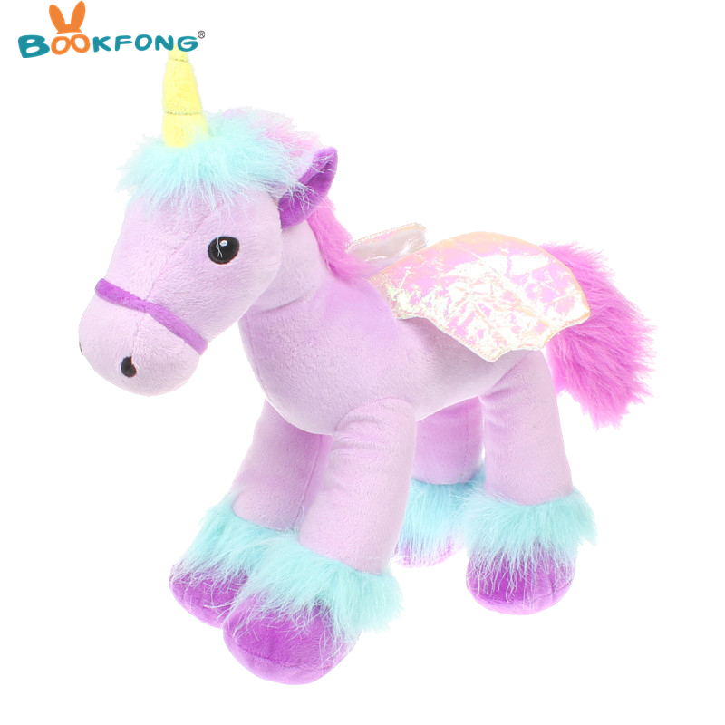 BOOKFONG 35cm Lovely Flying Horse Purple Angel Unicorn Plush Toy Baby Dolls Stuffed Animal Toys for Children Birthday Gift Toys kawaii fresh horse plush stuffed animal cartoon kids toys for girls children baby birthday christmas gift unicorn pendant dolls