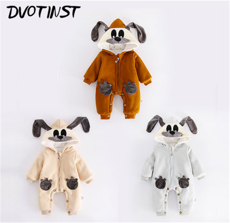 Dvotinst Newborn Baby Boys Girls Clothes Winter Rabbit Romper Keep Warm Outfit Infantil Toddler Jumpsuit Cotton Clothing Costume fashion 2pcs set newborn baby girls jumpsuit toddler girls flower pattern outfit clothes romper bodysuit pants