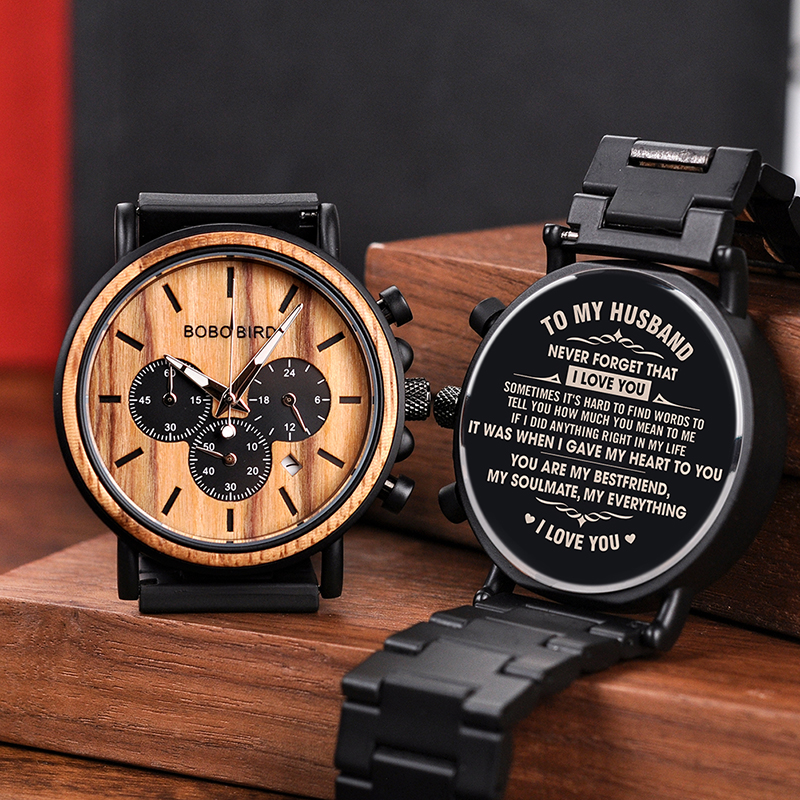 Personalized Customize Watch Men Engraved Wristwatch Wood Stainless Steel Band Anniversary Gift Birthday Gift erkek kol