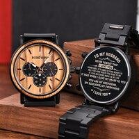 Personalisierte Anpassen Uhr Männer Gravierte Armbanduhr Holz & Edelstahl Band Jahrestag Geschenk Geburtstag Geschenk erkek kol saati-in Quarz-Uhren aus Uhren bei