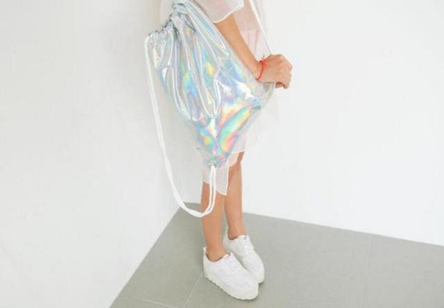 ff03ebb1f Women Hologram Backpack Silver Drawstring School Bag For Teenagers Student  Women's Laser Holographic Bag Sack package