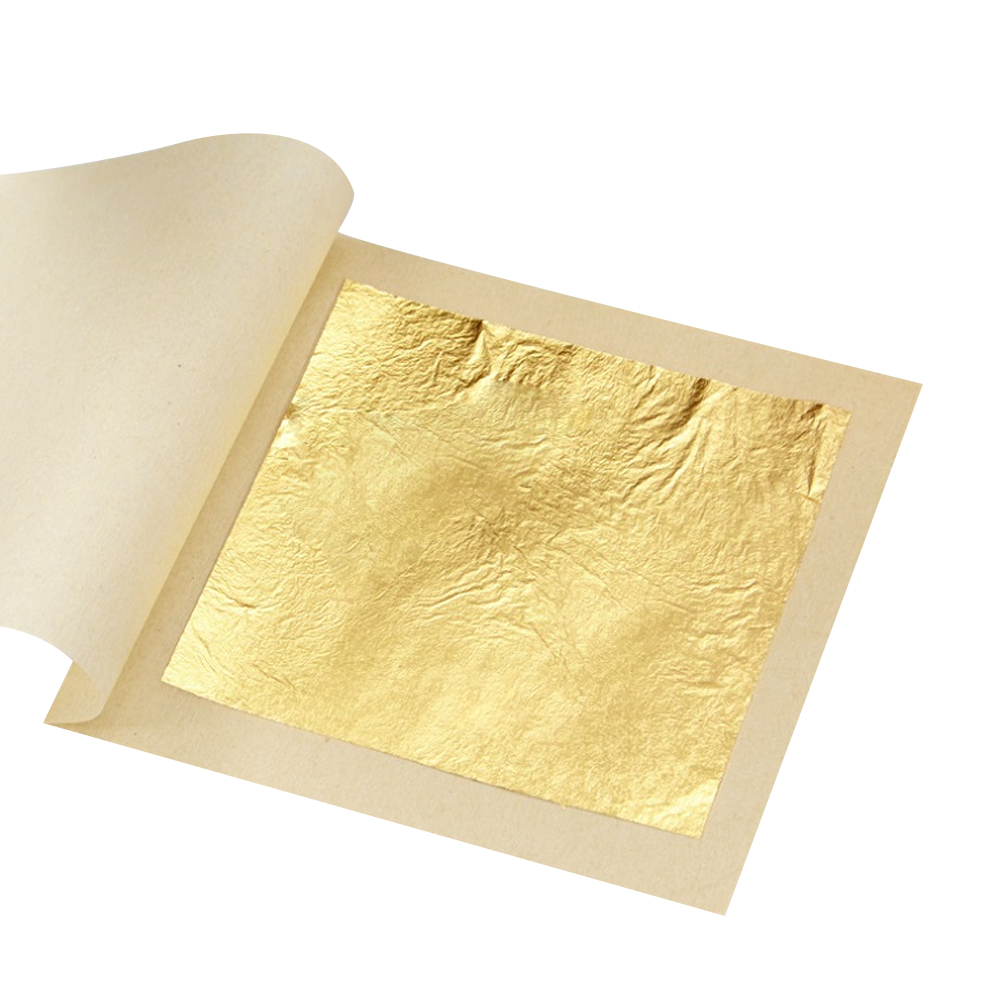 10 PCS 99.9% 24K Genuine Gold Leaf Art Craft Paper Real Edible Sheet Food Decoration Cake Ice Cream Coffee Wine Edible Dessert