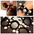 Perla de la cabeza de Corea del tocado de La Venda venda elástico del pelo cuerda banda de goma Creativa novia moño headwear lindo cola de caballo de moda de regalo