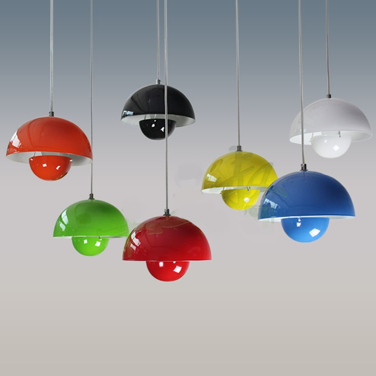 Personality Iron pendant lights Creative Bar Restaurant UFO Design Art Bedroom Study red / yellow / white pendant lamps ZA