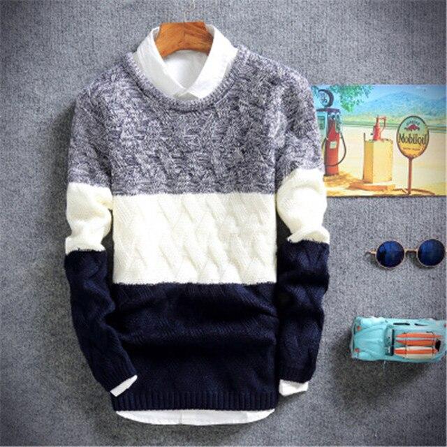 Пуловер Мужчины O шеи Свитер мужская Марка Slim Fit Пуловеры Повседневная Свитер Трикотаж Потяните Homme Высокое Качество 2017 Новый мода