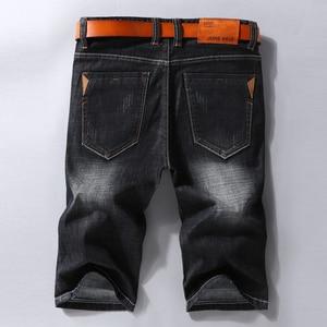 Image 2 - 男性デニムショートパンツ 2020 夏新スタイル薄肉弾性力スリムフィットショートジーンズ男性ブランド衣料黒青