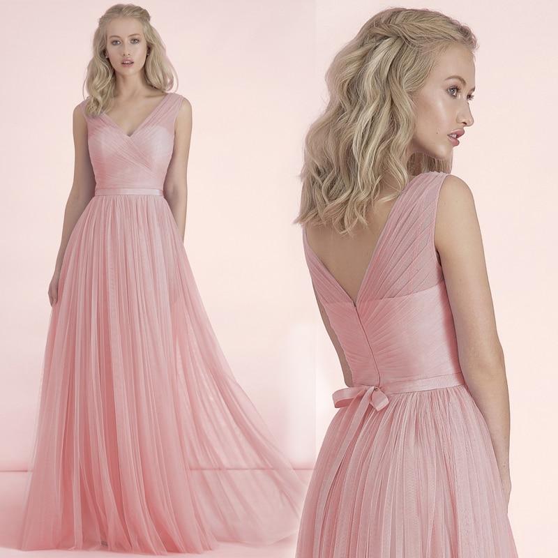2017 formal barato 3 estilos largo nude blush rosa vestidos de dama ...