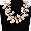 O melhor Presente de Natal Moda Corrente de Ouro Cinza Pérolas Beads Branches Forma Curto Bib Bib Colar de Pingente de Lustre