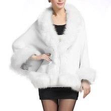 ef693b82282e5 Hiver fausse fourrure manteau femmes Ponchos et Capes noir blanc rouge  fourrure Top robe de mariée châle Cape Shaggy moelleux ma.