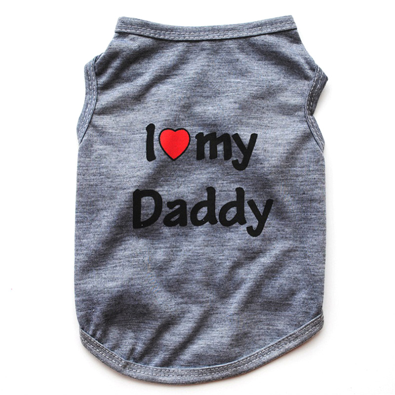 Classic Love Mommy & Love Daddy Print Dog Vest Unisex Puppy Cat T Shirt Sleeveless Clothing Cute Dogs Clothes For Small Doggy 16