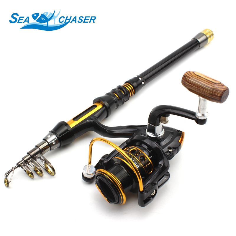 NEW 1.8M 2.1M 2.4M Fishing Rod 12BB Reel Portable Foldable Spinning Fishing Rod Carbon with Rod Combo Fishing Set Free shipping