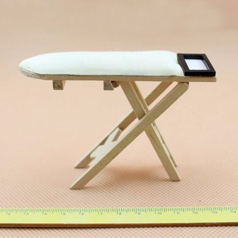 1:12 Scale Doll House Miniature Iron With Ironing Board Set Classic Pretend Play Furniture Toys Creative Children Gifts 2018 New