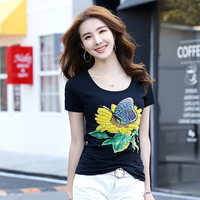 Hongmiao 2018 Summer Sunflower Manual Beaded Korean Women S Short Sleeved T Shirt Was Thin Slim