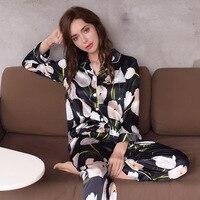 Sexy Real Zijde Nachtkleding Vrouwelijke Hoge Kwaliteit Pure ZIJDE Lange Mouwen Pyjamabroek Sets Afdrukken Zwarte Vrouwen Pyjama T8127