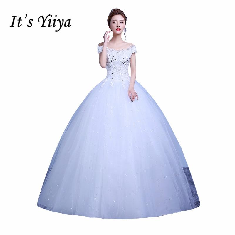 Free Shipping Boat neck font b Wedding b font Dresses 2017 Sequins Lace font b Bridal