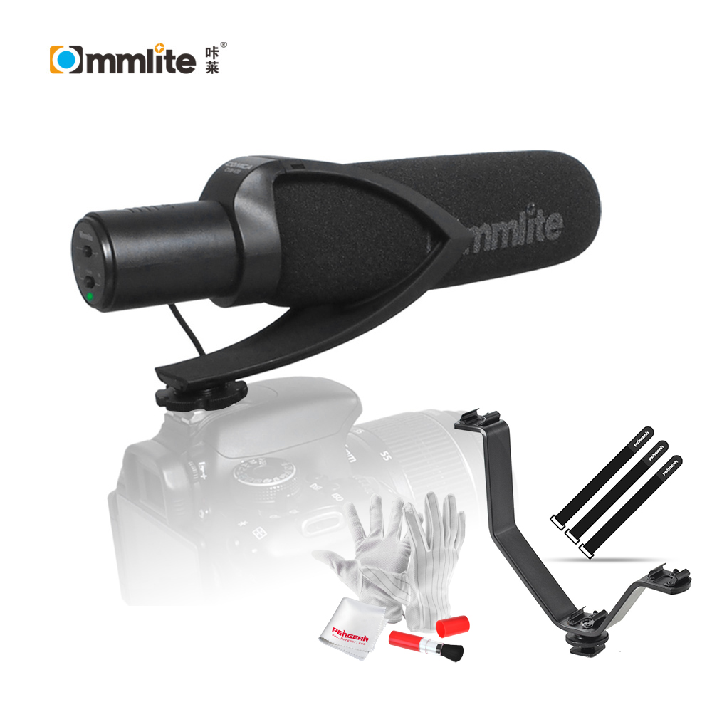 Commlite CoMica Electric Super-Cardioid Directional Condenser Shotgun Video Microphone+3in1 Hotshoe Holder for Flashes+Gift Kit by pvm1000l condenser microphone xlr 3 pin super cardioid directional for camcorder dslr smartphone video interactive film video