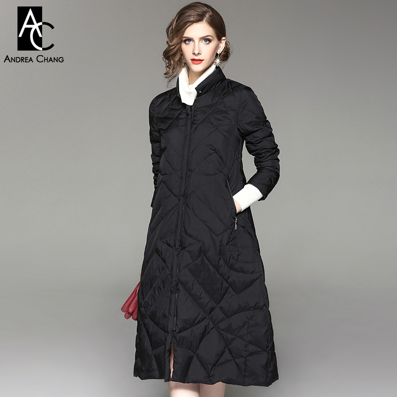 autumn winter woman outwear coat white duck down fill black army green dark orange long coat with pockets casual a-line coat XXL army green double breasted coat with pockets