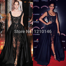 Elie Saab 2019 Newest Scoop Beaded Lace Satin Court Train Sheer Black Long Evening Dresses