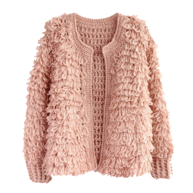 Online Shop Womens Elegant Loop Pink Short Sweater O-neck Full ...