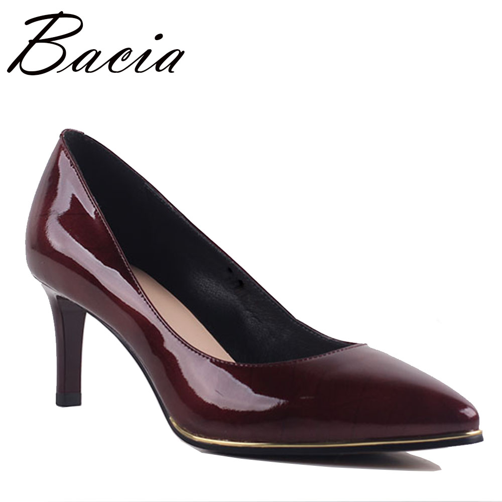 Bacia Brand Quality Genuine Leather Shoes Woman High Heels Pumps Red High Heels 6.8 CM Women Shoes High Heels Party Shoes MB032