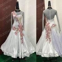 GOODANPAR Long Sleeve pearl lycra mesh Women Ballroom Dance Competition Dress with bodysuit Bra cups Trimming lace Waltz Dress