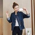 Новая Коллекция Весна Осень женская Epaulet Кнопки Куртки Пальто Причинно Молния Джинсовые Куртки Женщины Свободные Пиджаки Пальто chaquetas mujer