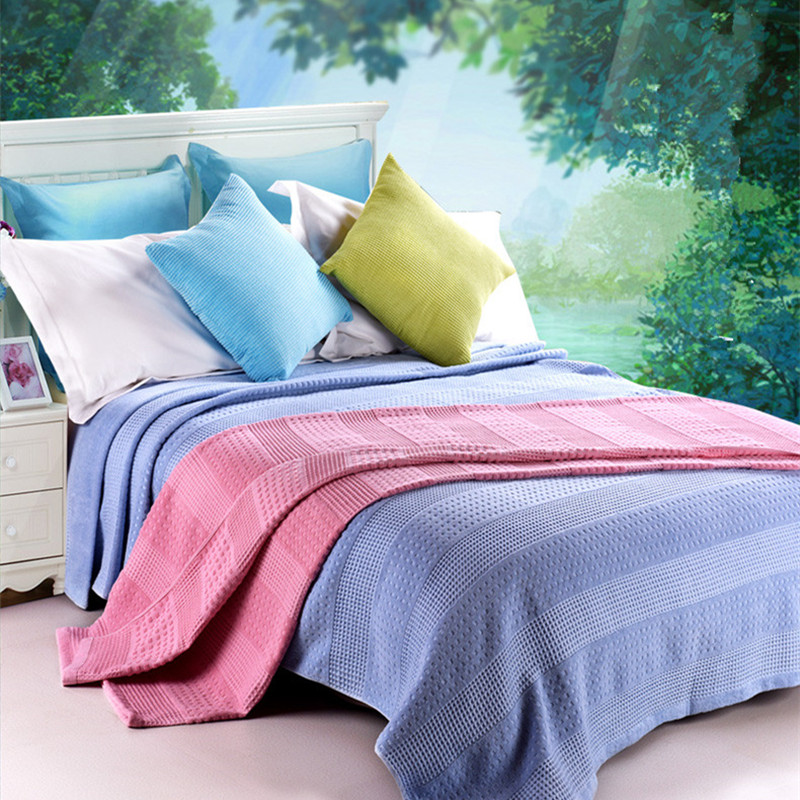 ФОТО Soft and Breathable 100% Cotton Summer Blankets Solid Color Walf Checks Sofa Quilts Kid's Towel Blankets Multi-Use Sheets